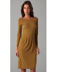 Halston | Brown 3/4 Sleeve Dress | Lyst