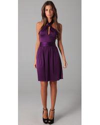 Halston | Purple Halter Twist Dress | Lyst