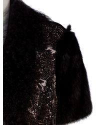J. Mendel Black Beaded Bi-fur Bolero