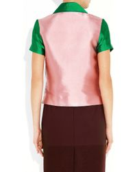 Jonathan Saunders - Green Dury Color-block Blouse - Lyst
