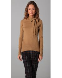 L.A.M.B. | Brown Long Sleeve Tie Neck Sweater | Lyst