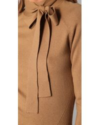 L.A.M.B. - Brown Long Sleeve Tie Neck Sweater - Lyst
