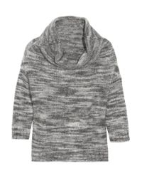 Lela Rose Gray Cowl-neck Knitted Marl Sweater