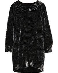 Miu Miu Black Sequined Wool Sweater