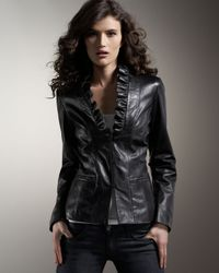 Neiman Marcus Black Ruffled Leather Jacket