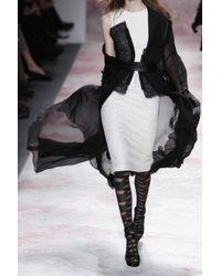 Prabal Gurung Black Textured Woolcloquã and Lace Dress