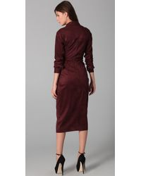 Rachel Roy - Brown Ultrasuede Wrap Dress - Lyst