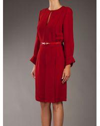 Stella McCartney Red Keyhole-front Belted Dress