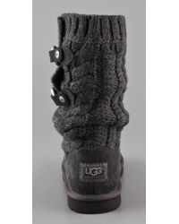 UGG Gray Tularosa Route Cable Knit Boots