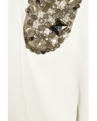 Victoria Beckham White Embellished Stretch-crepe Gown