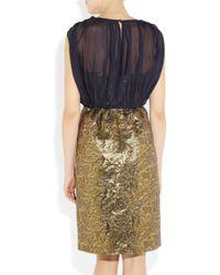 Tibi Metallic V Neck Layer Dress