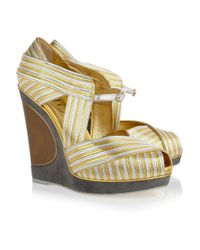Saint Laurent | Maggy Metallic Leather Wedges | Lyst