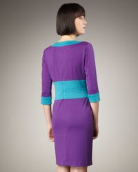 Bigio Collection | Blue Three-quarter Sleeve Colorblock Dress | Lyst
