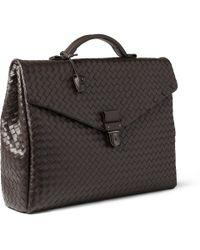 Bottega Veneta Black Large Intrecciato Leather Briefcase for men