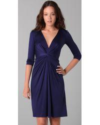 Issa | Blue Deep V Neck Dress | Lyst
