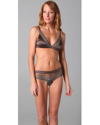La Fee Verte Gray Silk & Lace Bralette
