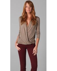 Lanston | Brown Surplice Top | Lyst