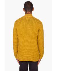 Paul Smith - Yellow Waffle Knit Merino Wool Cardigan for Men - Lyst