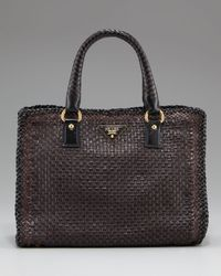 Prada Brown Madras Woven Double-handle Tote