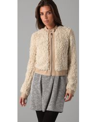 Rebecca Taylor | Natural Faux Fur Bomber | Lyst
