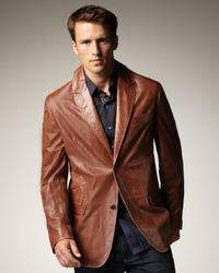 Robert Graham Brown Leather Jacket for men