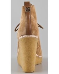 Tory Burch - Brown Denise Suede Wedge Booties - Lyst