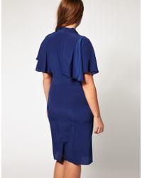 ASOS Collection | Blue Asos Curve Exclusive Pencil Dress with Cape Detail | Lyst