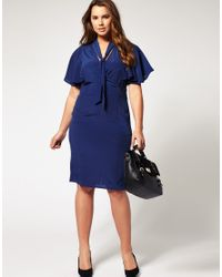 ASOS Collection | Blue Asos Curve Exclusive Pencil Dress with Cape Detail | Lyst