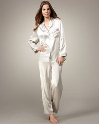Neiman Marcus | Metallic Classic Silk Pajamas, Light Silver | Lyst