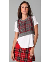 Opening Ceremony - Gray Plaid Cropped Sweater Vest - Lyst