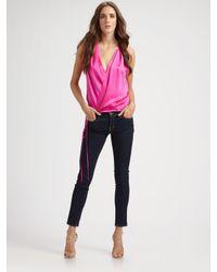 Robert Rodriguez | Pink Silk V-neck Wrap Top | Lyst