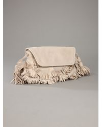 See By Chloé Natural Fluffy Cherry Party Suede Clutch