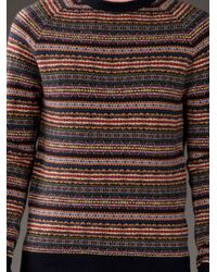 YMC Blue Navy Multi Colour Fairisle Knit for men
