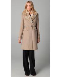 Elie Tahari | Natural Joanne Coat with Fur Collar | Lyst