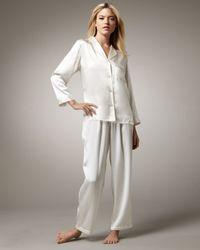 Neiman Marcus White Classic Silk Pajamas, Ivory