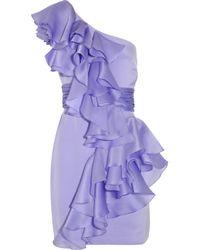 Notte by Marchesa | Purple Ruffled One-shoulder Silk-satin Dress | Lyst