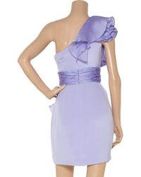 Notte by Marchesa   Purple Ruffled One-shoulder Silk-satin Dress   Lyst