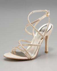 Stuart Weitzman Natural Embellished Strappy Sandal