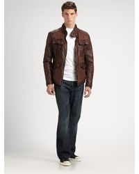 Andrew Marc | Brown Barrell Blaster Leather Jacket for Men | Lyst