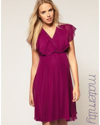 ASOS Collection | Purple Asos Maternity Ruffle Sleeves Cross Front Dress | Lyst