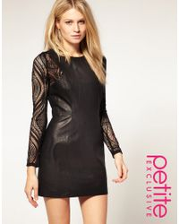 ASOS Collection | Black Asos Petite Exclusive Leather Dress with Lace Insert Sleeves | Lyst