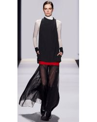 BCBGMAXAZRIA | Black Irise Long Dress with Sheer Skirt | Lyst