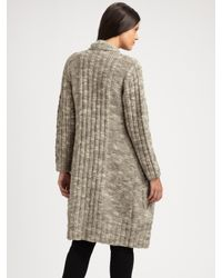 Eileen Fisher   Gray Chunky Knit Sweater Coat   Lyst
