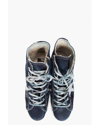 Golden Goose Deluxe Brand - Blue The Francy Navy Denim Sneakers for Men - Lyst