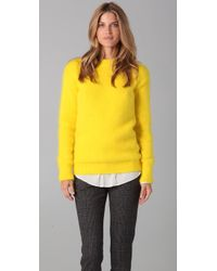 JOSEPH | Yellow Crew Neck Angora Sweater | Lyst