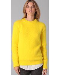 JOSEPH   Yellow Crew Neck Angora Sweater   Lyst