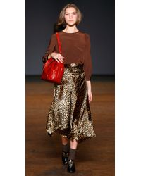 Marc By Marc Jacobs | Brown Sphinx Animal-print Velvet Skirt | Lyst