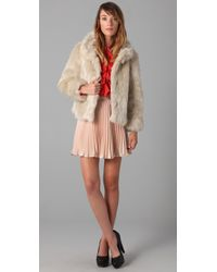 MILLY | Natural Carla Chubbie Faux Fur Jacket | Lyst