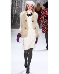 MILLY - Natural Runway Elsa Fur Vest - Lyst