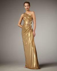 Robert Rodriguez Metallic Heidi One-shoulder Gown, Gold